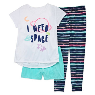 Arizona 3pc Space Pajama Set - Girls 4-16 & Plus