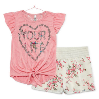 Knit Works Flutter Sleeve Floral Short Set with Necklace - Girls' 4-16 and Plus
