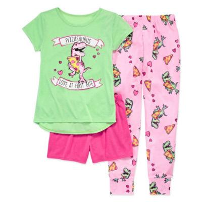 Arizona 3pc Pizzasaurus Pajama Set - Girls 4-16