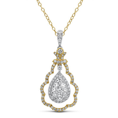 Womens 1 CT. T.W. White Diamond 14K Two Tone Gold Pendant Necklace