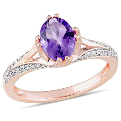 Womens 1/5 CT. T.W. Genuine Purple Amethyst 14K Rose Gold Cocktail Ring