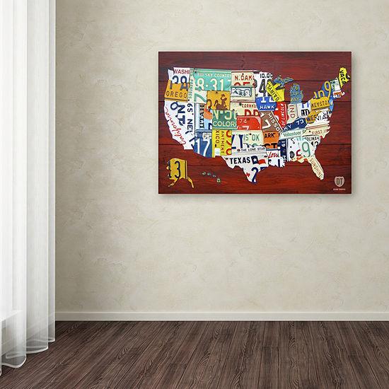 Trademark Fine Art Design Turnpike License Plate Map USA Giclee Canvas Art