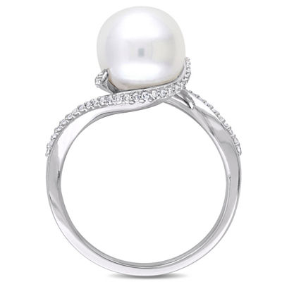 Womens 1/6 CT. T.W. 9.5M White Cultured Freshwater Pearl 10K White Gold Cocktail Ring