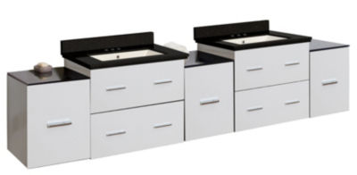 88.5-in. W Wall Mount White Vanity Set For 3H4-in.Drilling Black Galaxy Top Biscuit UM Sink