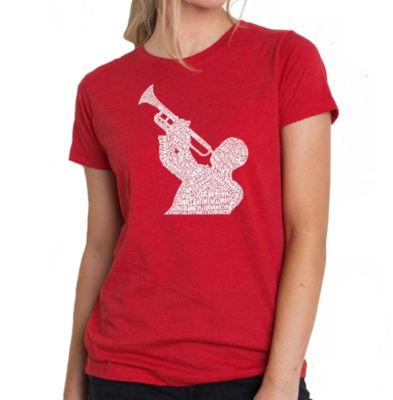Los Angeles Pop Art Women's Premium Blend Word ArtT-shirt - ALL TIME JAZZ SONGS