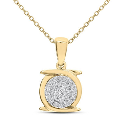 Womens 1/7 CT. T.W. White Diamond 14K Gold Pendant Necklace