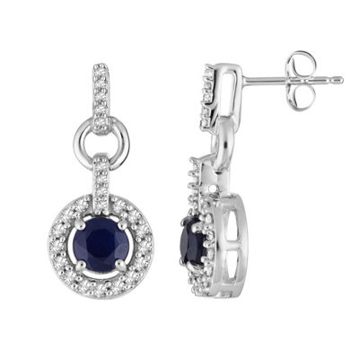 1/5 CT. T.W. Genuine Blue Sapphire 10K White Gold Round Drop Earrings
