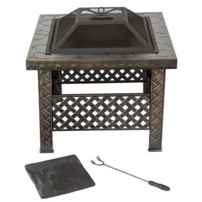 Pure Garden 26 in. Woven Metal Square Firepit