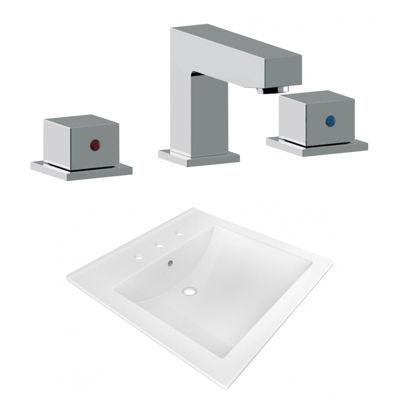 21.5-in. W 3H8-in. Ceramic Top Set In White Color- CUPC Faucet Incl.