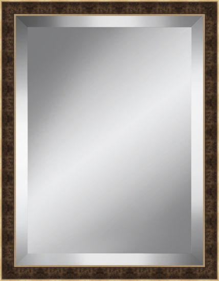 Brown and Gold Beveled Plate Mirror