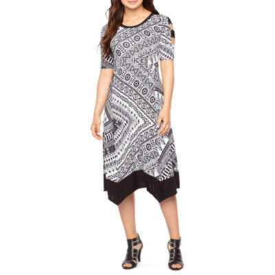 Rabbit Rabbit Rabbit Design Short Sleeve Fit & Flare Dress