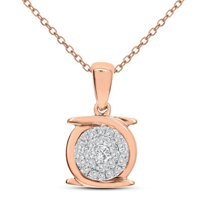 Womens 1/7 CT. T.W. White Diamond 14K Rose Gold Pendant Necklace