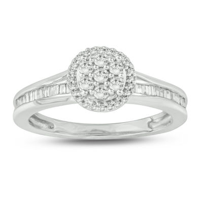 Womens 3/8 CT. T.W. Genuine White Diamond 10K White Gold Engagement Ring