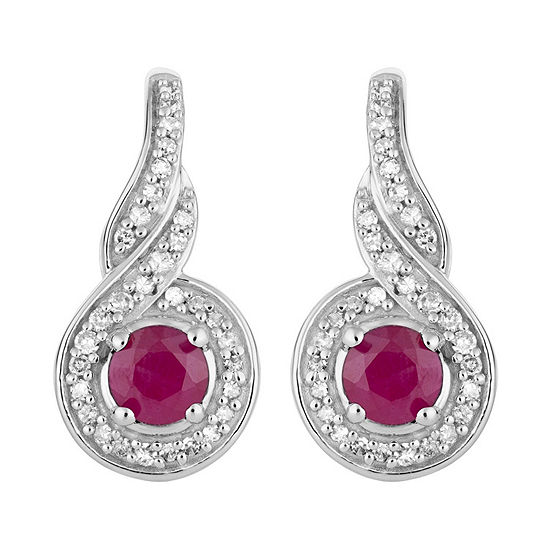 1/5 CT. T.W. Lead Glass-Filled Red Ruby 10K White Gold Round Drop Earrings