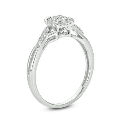 Womens 1/6 CT. T.W. Genuine White Diamond 10K White Gold Engagement Ring