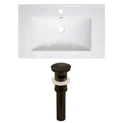 30-in. W 1 Hole Ceramic Top Set In White Color - Overflow Drain Incl.