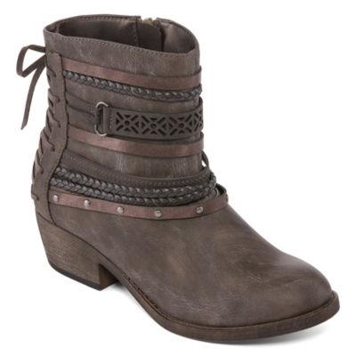 Pop Womens Sarene Booties Block Heel Zip