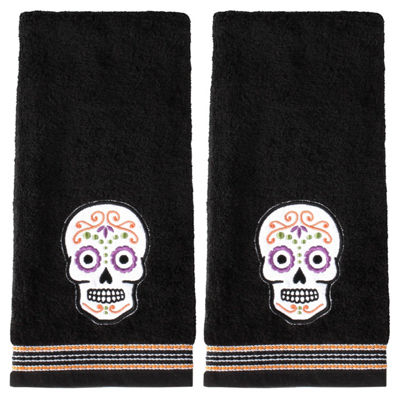 Saturday Knight Sugar Skull 2-pc. Embroidered Hand Towel