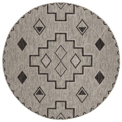 Safavieh Courtyard Collection Ambrose Geometric Indoor/Outdoor Round Area Rug