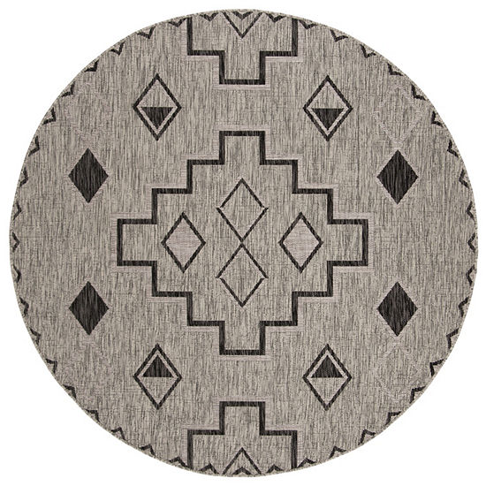 Safavieh Courtyard Collection Ambrose Geometric Indoor Outdoor Round Area Rug