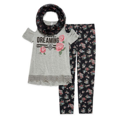 Knitworks Lace Trim Graphic Tee Legging Set with Scarf - Girls' 4-16 & Plus
