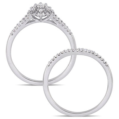 Womens 3/8 CT. T.W. Genuine White Diamond Sterling Silver Bridal Set