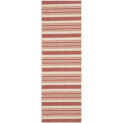 Safavieh Courtyard Collection Ercan Stripe Indoor/Outdoor Runner Rug