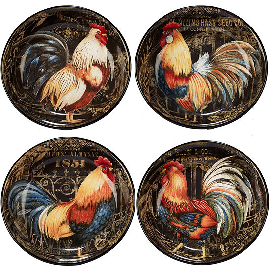 Certified International Gilded Rooster 4-pc. Soup Bowl