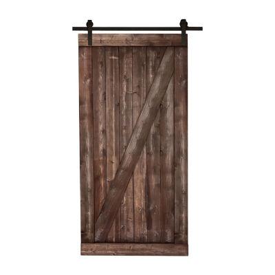 Northbeam Farm Style Sliding Door, Distressed Smoke Finish with Sliding Door Hardware Kit