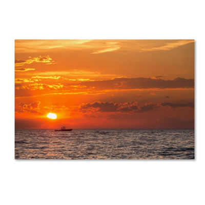 Trademark Fine Art Jason Shaffer Fishing Boat Sunset Giclee Canvas Art