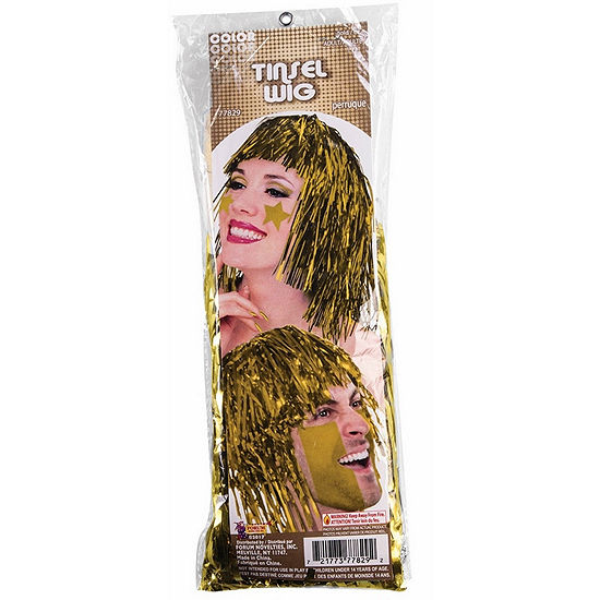 Yellow Tinsle Wig Dress Up Accessory