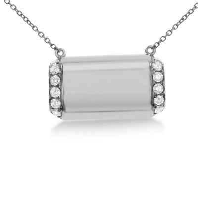 Womens 1/3 CT. T.W. White Diamond 14K White Gold Pendant Necklace