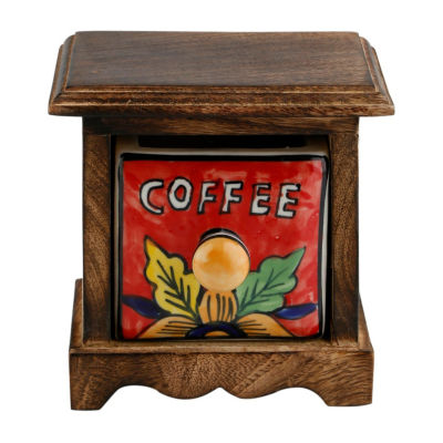 St. Croix Trading Curios Coffee Drawer Brown Wood Apothecary Chest
