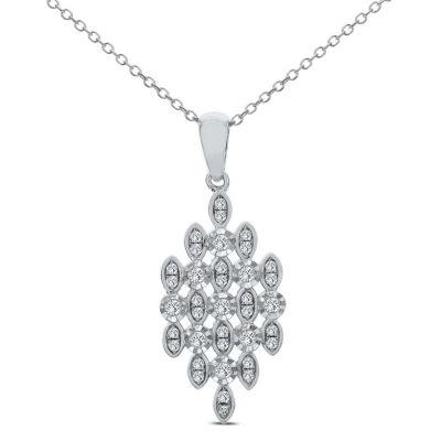 Womens 1/4 CT. T.W. White Diamond 14K White Gold Pendant Necklace