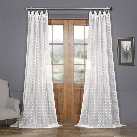 Exclusive Fabrics & Furnishing Strasbourg Dot Faux Linen Sheer Rod-Pocket Curtain Panel
