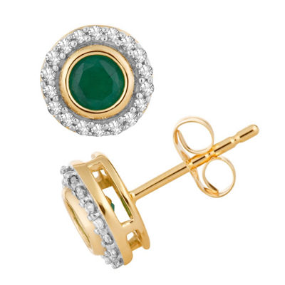 1/10 CT. T.W. Genuine Green Emerald 10K Gold 7.2mm Round Stud Earrings