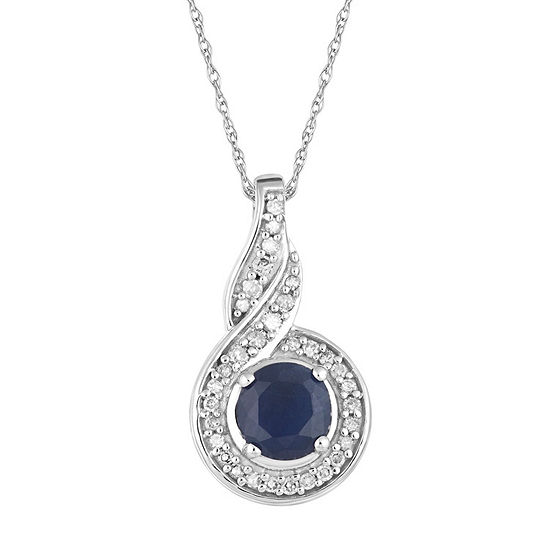 Womens 1/10 CT. T.W. Genuine Blue Sapphire 10K White Gold Round Pendant Necklace
