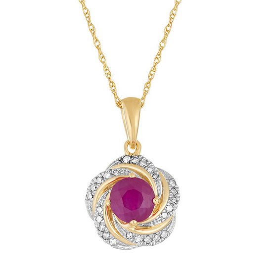 Womens Diamond Accent Lead Glass-Filled Red Ruby 10K Gold Round Pendant Necklace