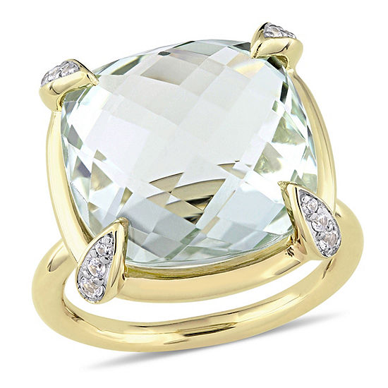 Womens Genuine Green Amethyst 14K Gold Cocktail Ring