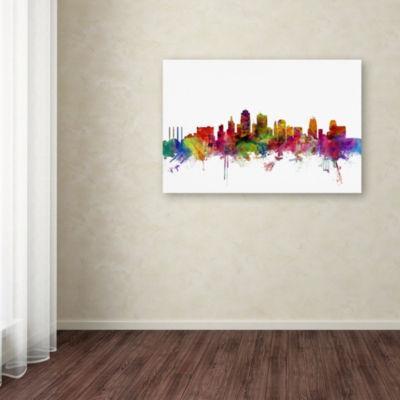 Trademark Fine Art Michael Tompsett Kansas City Skyline Giclee Canvas Art
