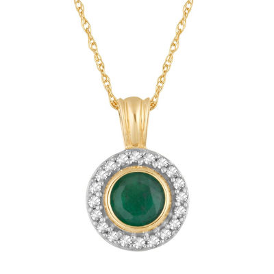 Womens 1/10 CT. T.W. Genuine Green Emerald 10K Gold Round Pendant Necklace