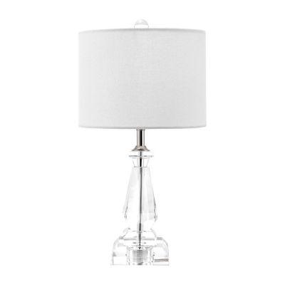 "Watch Hill 17"" Pamela Crystal & Iron Linen Shade Table Lamp"
