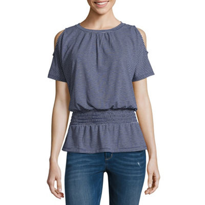 Liz Claiborne Short Sleeve Round Neck Stripe T-Shirt-Womens