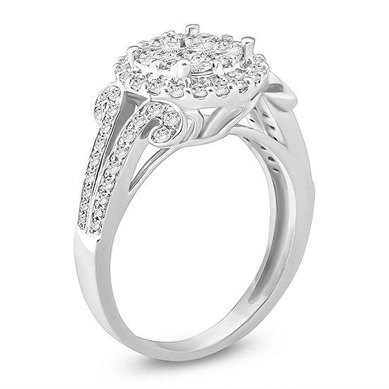 Womens 3/4 CT. T.W. Genuine White Diamond 14K White Gold Engagement Ring