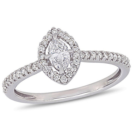 Womens 1 2 Ct Tw Genuine White Diamond 14k White Gold Engagement Ring