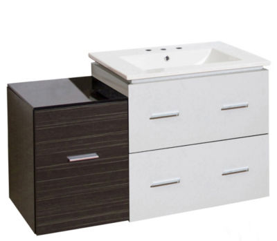 37.75-in. W Wall Mount White-Dawn Grey Vanity SetFor 3H8-in. Drilling