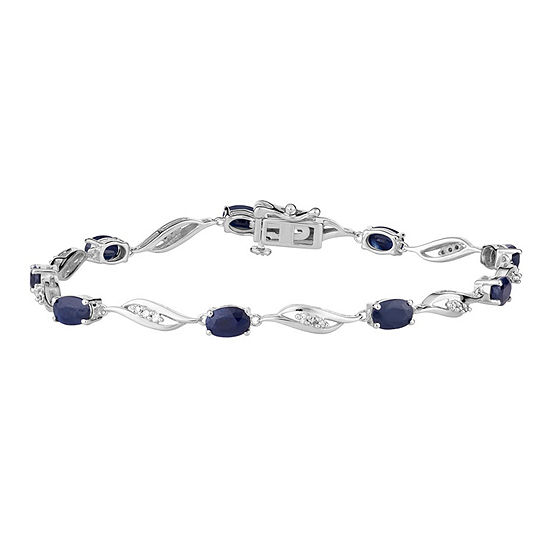 1/5 CT. T.W. Genuine Blue Sapphire 10K White Gold 7.5 Inch Tennis Bracelet