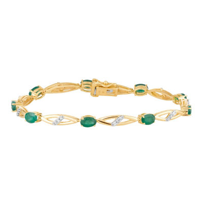 1/4 CT. T.W. Genuine Green Emerald 10K Gold 7.5 Inch Tennis Bracelet
