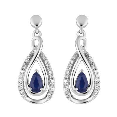 1/7 CT. T.W. Genuine Blue Sapphire 10K White Gold Pear Drop Earrings