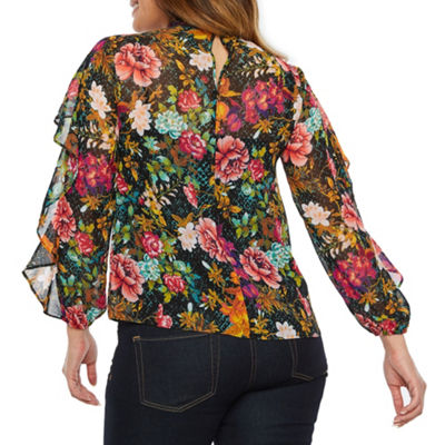 Bold Elements Twist Keyhole Neck Long Sleeve Blouse